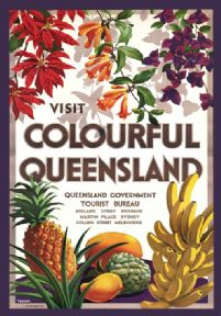 Colourful Queensland Vintage Travel Poster
